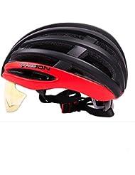 HYF-Aegis 180g de material ligero EPS bicicleta casco PC gafas integrado / desmontable / carretera / mountain bike casco equipo al aire libre , Red