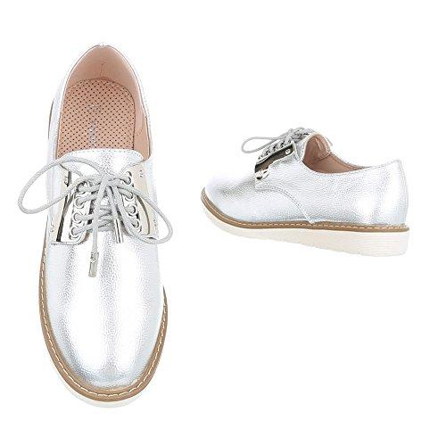Schnürer Lace design Baixo ital Prata Senhoras Sapatos Sapatos Oxford 1dPz1qS