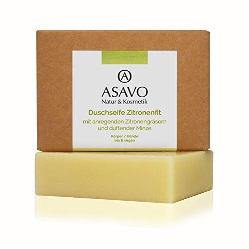 ASAVO Premium Naturseife Zitronenfit, handgeschöpfte Naturseife, mit Bio-Karitébutter & dem Duft von Zitronengras & Minze, vegan, Clean Beauty, 95g -