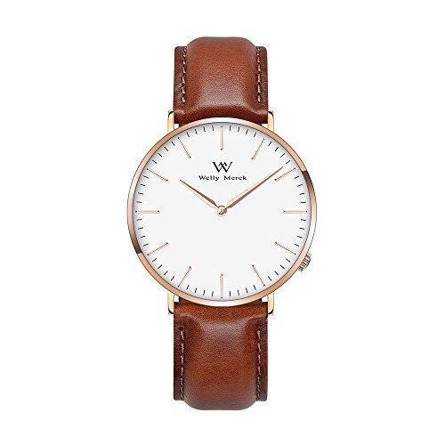 Welly Merck Damen Analog Uhren Schweizer Quarzwerk Mit Braun Leder Armbänder W-C5L6
