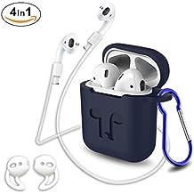 Custodia in silicone con cinturino sportivo per Airpods,GULAKI Airpod Box, realizzato con coperchio antiscivolo e accessori per gli Apple Wireless AirPods Custodia di ricarica (Dark Blue 4 in 1)