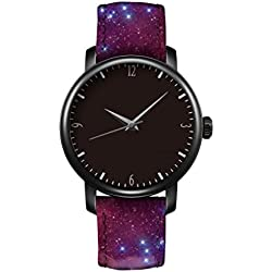 iCreat Ladies Leather Strap Quartz Watch Black Dial Black Case Watchband Design With Space Nebula Cool Cosmic Fashion Stars