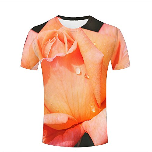 ouzhouxijia Mens 3D Printed T-Shirts Dewdrops On Yellow Rose Graphics Couple Tees A