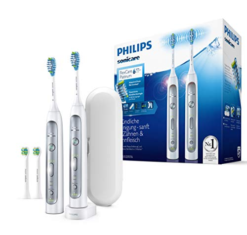 Philips Sonicare FlexCare Platinum 2 Elektrische Zahnbürsten HX9114/37 im Set - 2 Handstücke, 4 Bürstenköpfe, Drucksensor, 3 Putzprogramme, 3 Intensitäten, Timer & Etui - Weiß - Jahr Elektronische 1 Zahnbürste