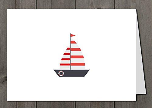 """Grußkarte + Briefumschlag + Adressaufkleber """"Segelboot No1"""""""