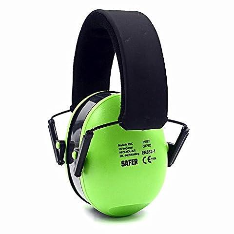 Toennesen Earmuffs 21db NRR Protection Réduction du bruit Muff avec bandeau de sécurité réglable pour le voyage, le sommeil, le travail, Concerts, Drumming, vert