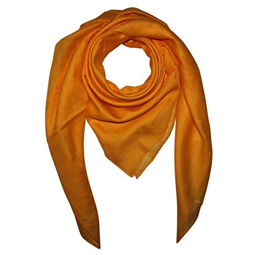 Superfreak Baumwolltuch - Tuch - Schal - 100x100 cm - 100% Baumwolle, Farbe gelb-mandarin