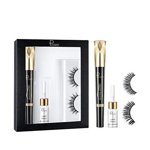 Ensemble de Yeux Maquillage Faux Cils avec Colle + 4D Mascara Naturel Cils Waterproof Réutilisable Cosmetique de Yeux par Pretty Comy