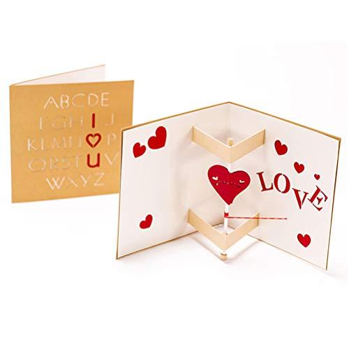 Carta di benedizione di amore creativo biglietto di auguri di confessione stereo 3d a mano girevole per san valentino/compleanno/festa della mamma/memoriale di matrimonio