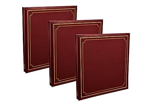 3X Arpan Album photo auto-adhésif 32x 26cm autoadhésifs Feuilles de 72/144/côtés Aspect cuir rembourré Coque Post Bound, Red/Burgundy, 33 x 3 x 33 cm Approx