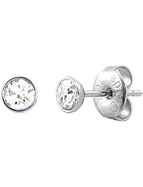 bkwear 2 Stück OS 56 bk3 Edelstahl Ohrstecker Strass Stein Weiß 4 mm Zirkonia Kristall Weiß Rund Ohrringe