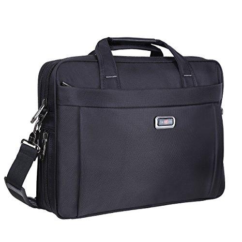 Jacquard-stoff-tasche (Aktentasche Bag, 39,6cm Laptop Taschen, stylishem Nylon Multifunktions Organizer Messenger Bags für Männer Frauen Passform für 39,6cm Notebook Macbook Tablet–Schwarz)