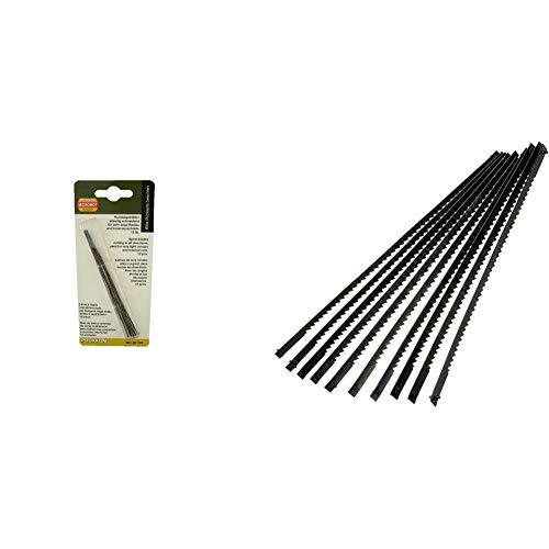 Proxxon 28747 Rundsägeblatt, 130 mm. Mit flachen Enden (ohne Querstift), 12 Stück & Silverline 763619 Dekupiersägeblätter, 130 mm, 10er-Pckg. 21 ZpZ