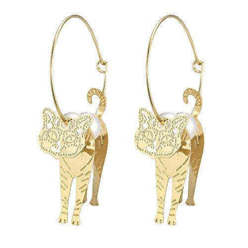 PU Ran Frauen Luxus Statement große Hoop Nachahmung Pearl Hohl Katze Ohrringe Schmuck-Golden