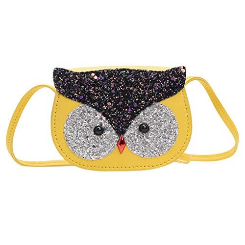 Dorical Umhängetasche für Kinder Süß Eule Kindertasche, Klein Messenger Handtasche Schultertasche für Kinder, Mädchen, aus PU-Leder, für 2-5 Jahre geeignet im Kindergarten Ausverkauf(Gelb)