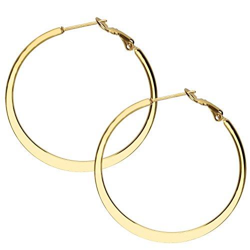 MYA art Damen Creolen Runde Ringe hängend mit Stecker Edelstahl Gold Gelbgold Vergoldet Große Ohrringe Rund Groß Flach 5cm MYAGOOHR-43-50mm (Gold-flache Creolen)