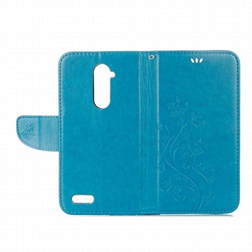 Custodia ZTE Zmax Pro / Z981 Cover Case, Ougger Fiore Farfalla Portafoglio PU Pelle Magnetico Stand Morbido Silicone Flip Bumper Protettivo Gomma Shell Borsa Custodie con Slot per Schede (Marrone) Azzurro