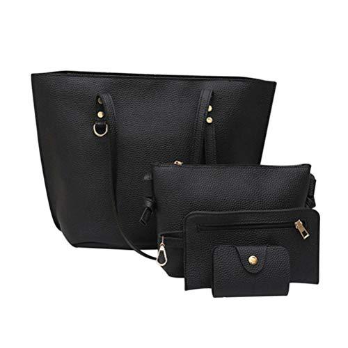 SoonerQuicker 4 stück billige handtaschen Litschi Muster Leder Schultertasche + Umhängetasche Handtasche Geldbörse (schwarz) Pink Camouflage Messenger Bag