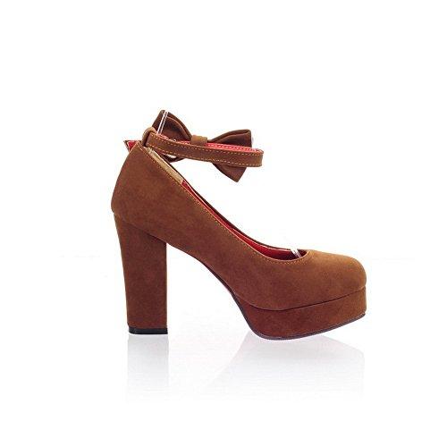 balamasa Femme Boucle avec nœud en métal dépoli pumps-shoes Marron - marron