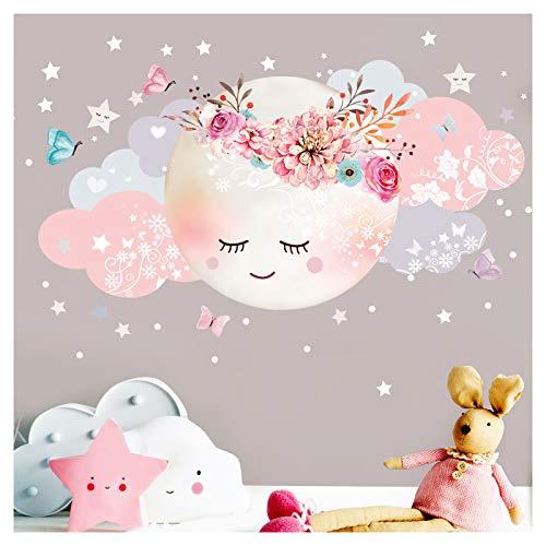 Little Deco Wandsticker Mond & Wolken I Weiß/Rosa M - 51 x 26 cm (BxH) I Kinderzimmer Wandtattoo Mädchen Baby Deko Zimmer DL246-1-M -