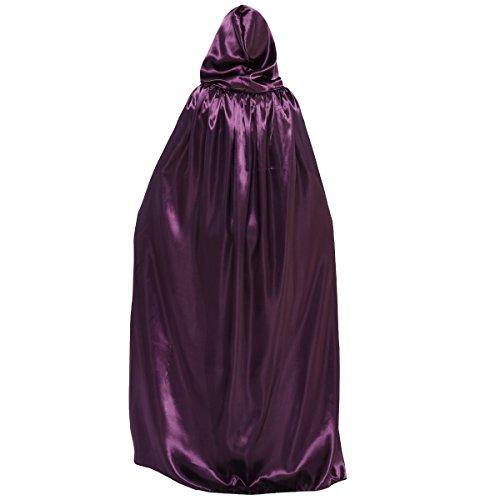 Huntforgold Umhang mit Kapuze Lange Satin Cape für Halloween Vampir Kostüm(60-170cm) Lila