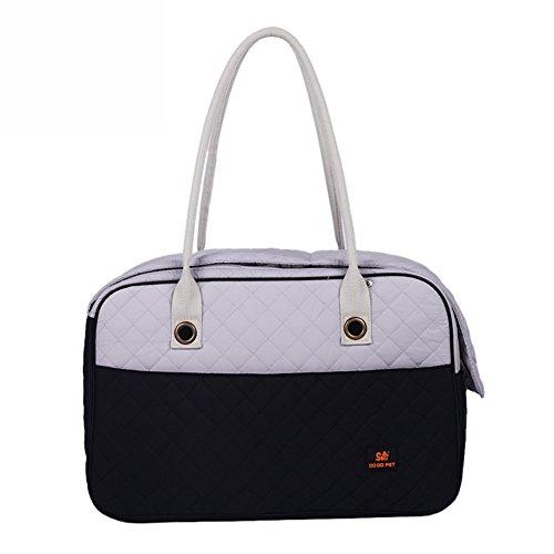B-JOY Stilvolle 2 Tone Quilted weichen einseitigen Reise Tasche Hund und Katze Pet Carrier Tote Handtasche (S(40.5cm*22cm*28cm), Schwarz+Weiß) (Über Tote Handtasche)