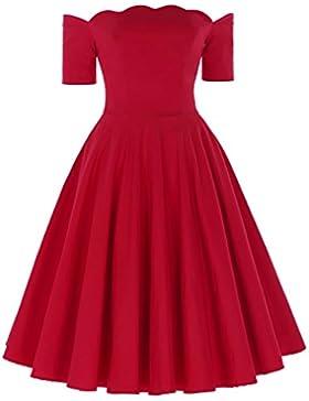 Belle Poque Fashion Sommer 1950s Vintage Kleid Bandeau Off Shoulder Partykleid Strandkleid
