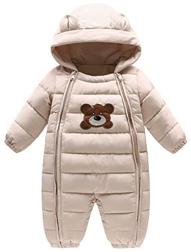 ARAUS Tuta da Neve con Cappuccio da Bimbo Calda Pagliaccetto Bambina Zip up Snowsuit Piumino per Inverno 0-20 Mesi
