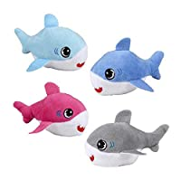 Mini Shark Plush Toy Party Pack - Pretend Play Shark Pup Toys in Assorted Colors - For Birthday or Classroom Party Supply Prize Treat Bags - 12 Piece Set
