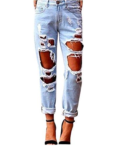 Missmao donna jeans denim strappato jeans stretch matita pantaloni sottili pantaloni lunghi leggings azzurro chiaro m