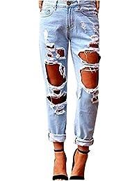 Donna Jeans Denim Strappato Jeans Stretch Matita Pantaloni Sottili Pantaloni Lunghi Leggings Azzurro Chiaro XL