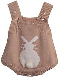QUICKLYLY Mameluco Punto Recién Bebé Chico Chica Conejo Bunny Elástico Mono Traje Ropa (0 ~ 24 meses)