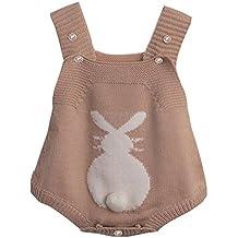 QUICKLYLY Mameluco Punto Recién Bebé Chico Chica Conejo Bunny Elástico Mono  Traje ... f1c395be9c63