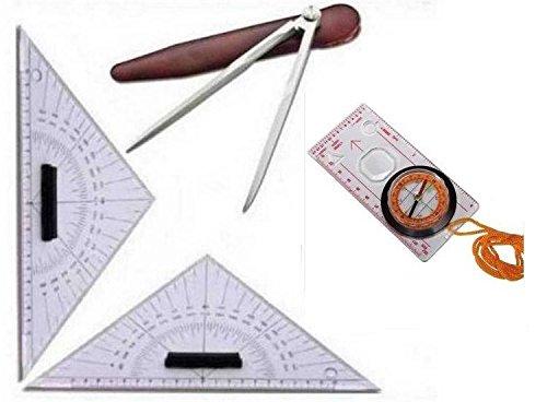 Kit carteggio nautico patente nautica 2 squadrette compasso bussola con lente