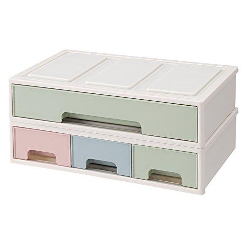SONGMICS 2-in-1 Make up Organizer Kosmetik Aufbewahrung mit 4 Schubladen stapelbar aus Kunststoff für Make-up, Stifte, Schreibtisch, Büro, Badezimmer JMU13GN (Schreibtisch-organizer Ecke)