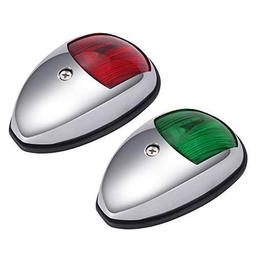 SmartHitech 12V LED-Navigationslichter für Boote, Universal Boat Bow-Lampe Aus Rostfreiem Stahl, für Ponton, Skeeter, Motorboot und Skiff (1 Paar)