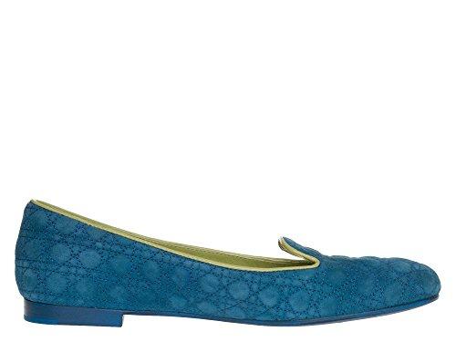 Dior Femmes Ballerines cuir véritable Bleu