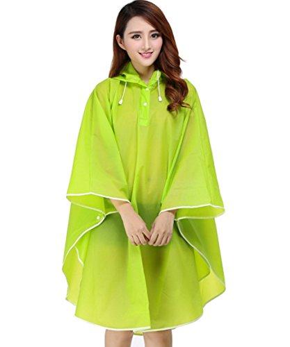Qissy® Adulte Raincoat Cape de Pluie Portable EVA Manteau Imperméable Poncho à Capuche Moto/vélo Bâche Environnement pour Voyage/Camping/Randonnée/Vacances Vert