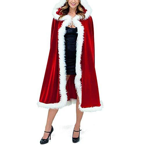 Marysa Weihnachten Kostüm Damen Weihnachtsmann Damen WeihnachtskostümMarysa Umhang mit Kapuze Rot Samt Weihnachten Cape Party Cosplay Miss Santa Kapuzenmantel (Miss Santa Cape)