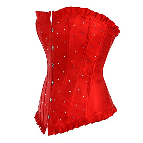 Kranchungel Women's Sexy Slim Burlesque Satin Body Shaper Strapless Overwear Corset Corsetto Bustino Rosso