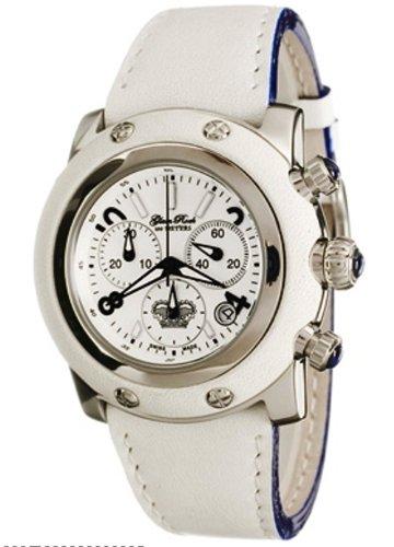 Glam Rock GR10119 - Reloj cronógrafo unisex de cuarzo con correa de piel blanca - sumergible a 100 metros
