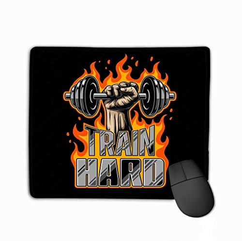 epad Gaming Mouse Pad 11.81 X 9.84 Inch Bodybuilding Poster Dumbell Fist Flame hot Design Bodybuilding Motivation Poster Geometric ()
