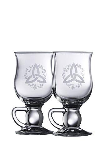 Galway Crystal Latte-Macchiato-Glas, keltischer Knoten, Irisches Kleeblatt, transparent
