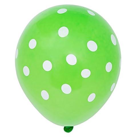 6 grüne Luftballons mit weißen