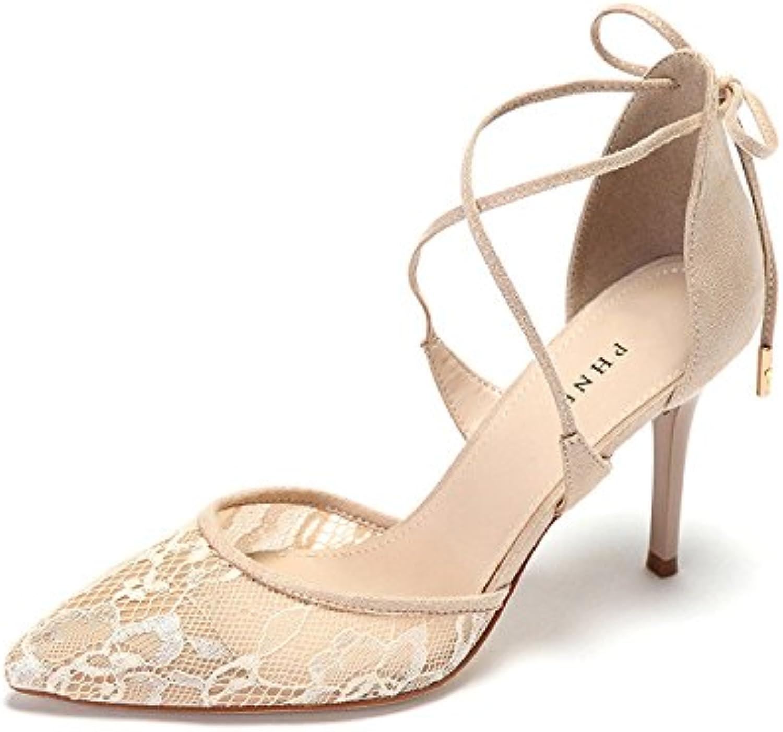 GTYW Spitze-Frauen-Hohe Absätze Elegante Stilett-Reizvolle Spitze Flache Schnürsenkel Heels Damenschuhe