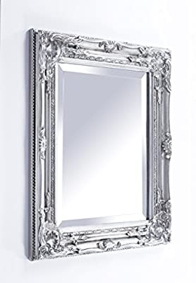 Best Selling French Silver Shabby Vintage Antique Style Wall Mirror with Bevelled Glass - Overall Mirror Size: 17 inches x 21 inches (43cm x 53cm)