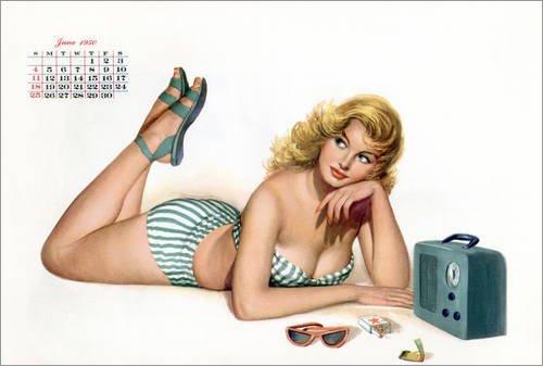 Forex-Platte 90 x 60 cm: Esquire Girl calendar (März 1950) von Bridgeman Images (Children's 1950's Kostüme)