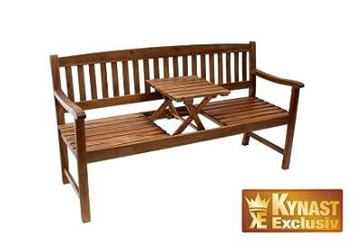 Bank Holz mit Klapp-Tisch OEREGON AKAZIE Gartenbank Parkbank