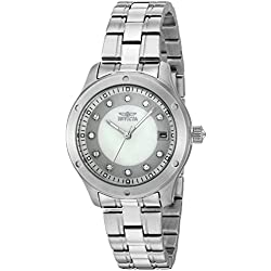 Invicta Women's Quartz Watch with Silver Dial Analogue Display and Silver Stainless Steel Bracelet 21404