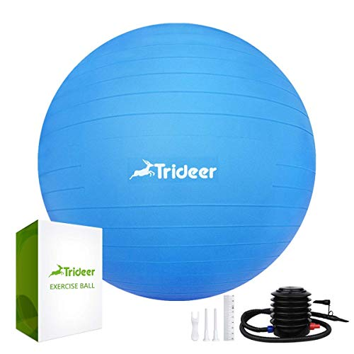 Trideer Dicker Anti-Burst Gymnastikball inkl Ballpumpe, Robuster 700kg Maximalbelastbarkeit Sitzball als Fitness Kleingeräte und Balance Stuhl im Gym-Home-Büro (Mode Dunkelblau, L(58-65cm))